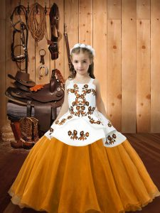New Style Floor Length Lace Up Pageant Dress Toddler Orange for Sweet 16 and Quinceanera with Embroidery