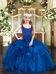 Organza Sleeveless Floor Length Girls Pageant Dresses and Beading and Ruffles