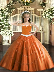 Gorgeous Floor Length Ball Gowns Sleeveless Rust Red Pageant Gowns For Girls Lace Up