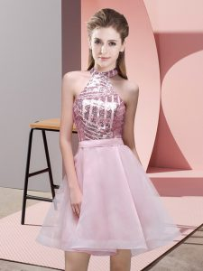 Traditional Pink A-line Sequins Damas Dress Backless Chiffon Sleeveless Mini Length