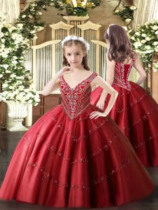 Adorable V-neck Sleeveless Little Girls Pageant Dress Floor Length Beading and Appliques Red Tulle