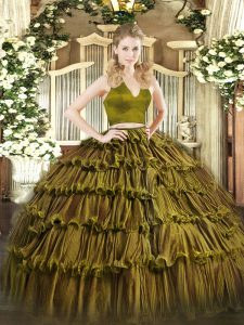 Olive Green Sleeveless Floor Length Ruffled Layers Zipper Quince Ball Gowns