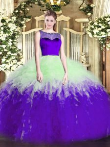 Sleeveless Tulle Floor Length Zipper Quinceanera Gown in Multi-color with Beading and Ruffles