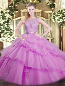 Scoop Sleeveless Backless Ball Gown Prom Dress Lilac Organza