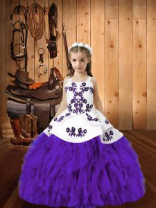 Eggplant Purple Little Girls Pageant Dress Sweet 16 and Quinceanera with Embroidery and Ruffles Straps Sleeveless Lace Up