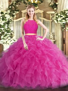 Hot Pink Sleeveless Ruffles Floor Length Sweet 16 Dresses