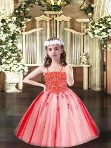 Simple Spaghetti Straps Sleeveless Tulle Little Girl Pageant Dress Beading Lace Up