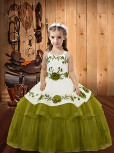 Floor Length Olive Green Little Girl Pageant Dress Organza Sleeveless Embroidery and Ruffled Layers