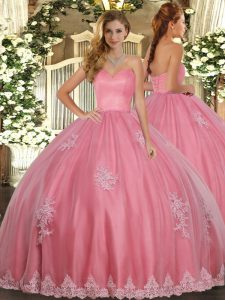 Traditional Floor Length Ball Gowns Sleeveless Watermelon Red Quinceanera Gown Lace Up