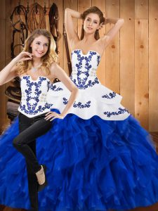 Fantastic Blue And White Two Pieces Satin and Organza Strapless Sleeveless Embroidery and Ruffles Floor Length Lace Up Quinceanera Gown