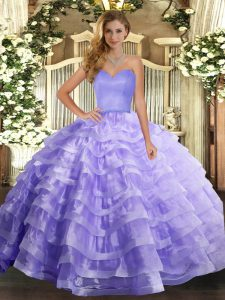 Decent Organza Sweetheart Sleeveless Lace Up Ruffled Layers Quinceanera Gown in Lavender