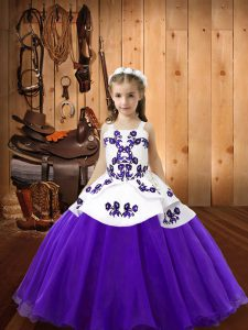 Floor Length Ball Gowns Sleeveless Purple Little Girls Pageant Gowns Lace Up