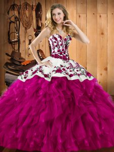 Sleeveless Floor Length Embroidery and Ruffles Lace Up Vestidos de Quinceanera with Fuchsia