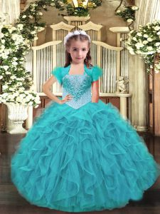 Perfect Aqua Blue Pageant Dress for Womens Party and Sweet 16 and Quinceanera and Wedding Party with Ruffles Straps Sleeveless Lace Up