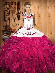 Elegant Ball Gowns Sweet 16 Dresses Fuchsia Halter Top Satin and Organza Sleeveless Floor Length Lace Up