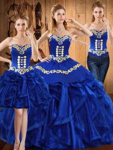 Artistic Sweetheart Sleeveless Lace Up Quinceanera Gowns Royal Blue Organza