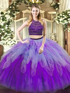 Edgy Halter Top Sleeveless Tulle Quinceanera Dress Beading and Ruffles Lace Up