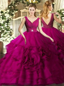Fashionable Sleeveless Backless Floor Length Beading and Ruffles Quinceanera Gown