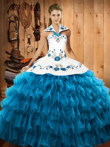 Gorgeous Sleeveless Embroidery and Ruffled Layers Lace Up Quinceanera Dresses