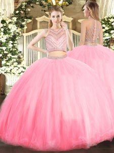 Inexpensive Sleeveless Beading Zipper Quince Ball Gowns
