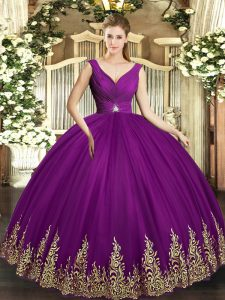 Cute Floor Length Eggplant Purple Quinceanera Dress Tulle Sleeveless Beading and Appliques and Ruching