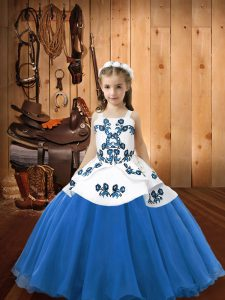 Stunning Straps Sleeveless Lace Up Child Pageant Dress Blue Organza