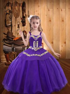 Straps Sleeveless Little Girl Pageant Dress Floor Length Embroidery Eggplant Purple Organza