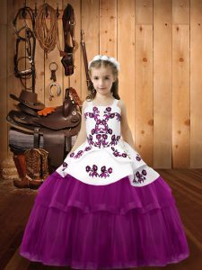Lovely Sleeveless Tulle Floor Length Lace Up Glitz Pageant Dress in Purple with Embroidery