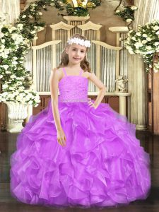 Lovely Lavender Ball Gowns Beading and Lace and Ruffles Little Girls Pageant Gowns Zipper Organza Sleeveless Floor Length