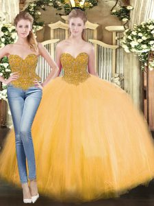 Floor Length Lace Up Sweet 16 Dresses Gold for Military Ball and Sweet 16 and Quinceanera with Beading
