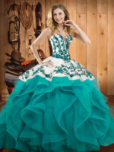 Vintage Teal Ball Gowns Satin and Organza Sweetheart Sleeveless Embroidery and Ruffles Floor Length Lace Up Quinceanera Dresses