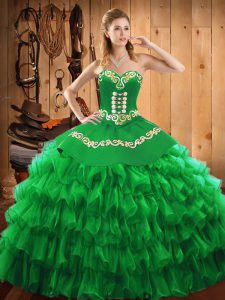 Sleeveless Satin and Organza Floor Length Lace Up 15th Birthday Dress in Green with Embroidery and Ruffled Layers