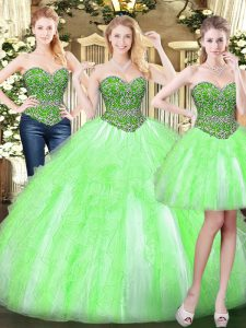 Discount Sleeveless Floor Length Beading and Ruffles Lace Up Sweet 16 Dress