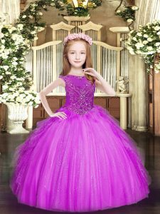 Lovely Fuchsia Pageant Dresses Party and Quinceanera with Beading and Ruffles Scoop Sleeveless Zipper