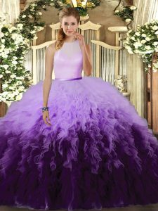 High-neck Sleeveless Tulle Ball Gown Prom Dress Ruffles Backless