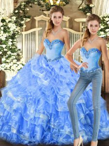 Luxury Baby Blue and Light Blue Lace Up Sweetheart Beading and Ruffles Quinceanera Dresses Organza Sleeveless