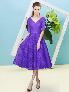 Custom Made Purple V-neck Lace Up Bowknot Quinceanera Dama Dress Half Sleeves