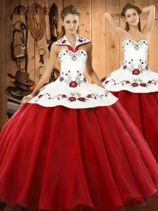 Floor Length Wine Red Sweet 16 Dress Satin and Tulle Sleeveless Embroidery