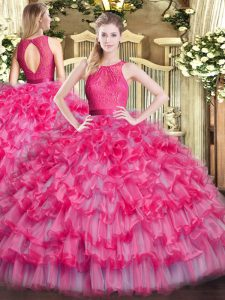 Hot Selling Lace and Ruffled Layers Quinceanera Dress Hot Pink Zipper Sleeveless Floor Length