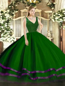 Wonderful V-neck Sleeveless Zipper Sweet 16 Dress Green Tulle