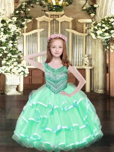 Apple Green Sleeveless Organza Lace Up Pageant Gowns For Girls for Party and Quinceanera