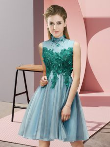 Aqua Blue Empire Appliques Dama Dress Lace Up Tulle Sleeveless Knee Length