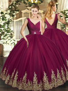 Top Selling Burgundy V-neck Backless Beading and Appliques and Ruching Vestidos de Quinceanera Sleeveless