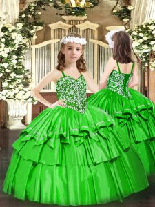 Green Organza Lace Up Straps Sleeveless Floor Length Girls Pageant Dresses Beading and Ruffled Layers
