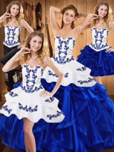 Blue Satin and Organza Lace Up Strapless Sleeveless Floor Length Quinceanera Gown Embroidery and Ruffles