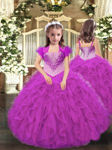 Floor Length Lace Up Pageant Dress for Teens Fuchsia for Party and Sweet 16 and Quinceanera and Wedding Party with Beading and Ruffles