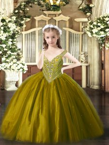 Popular V-neck Sleeveless Lace Up Pageant Dress for Girls Brown Tulle