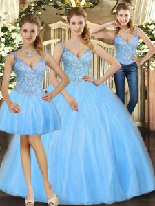 Cheap Baby Blue Tulle Lace Up Straps Sleeveless Floor Length Sweet 16 Quinceanera Dress Beading