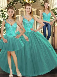 Wonderful Turquoise Straps Lace Up Beading Sweet 16 Dresses Sleeveless