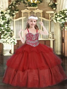 Floor Length Lace Up Little Girls Pageant Gowns Wine Red for Party and Quinceanera with Beading and Ruffled Layers